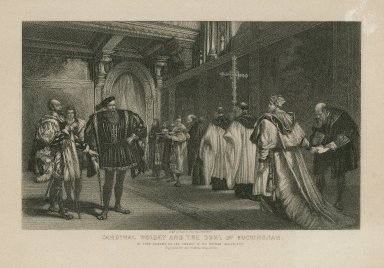 Cardinal Wolsey and the Duke of Buckingham ... [King Henry VIII, act I, scene 1] [graphic] / engd. by Geo. E. Perine ; by John Gilbert.