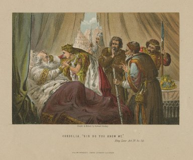 """Cordelia: """"Sir do you know me"""", King Lear, act IV, sc. 7 [graphic] / drawn & etched by Robert Dudley."""