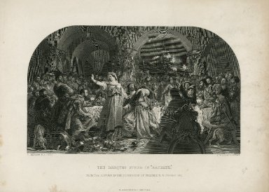 """The banquet scene in """"Macbeth"""" [act III, scene 4] from the picture in the possession of Frederick W. Cosens, Esq. [graphic] / D. Maclise, R.A. pinxt ; C. W. Sharpe, sculpt."""