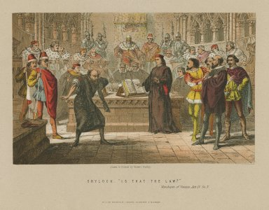 """Shylock: """"Is that the law?"""" Merchant of Venice, act IV, sc. 1 [graphic] / drawn & etched by Robert Dudley."""