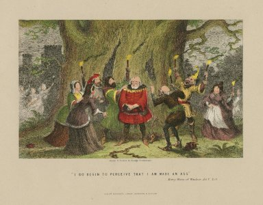 Sir John Falstaff discovering that Mrs. Ford, and Mrs. Page have been making a fool of him, Merry Wives of Windsor, act V, scene V [graphic] / drawn & etched by George Cruikshank.