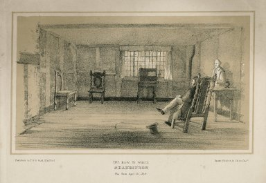 The room in which Shakespere was born ... Stratford-upon-Avon [graphic] / drawn & printed by G. Rowe.