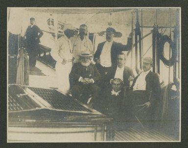 Edwin Booth, Thomas Bailey Aldrich, Lawrence Barrett, William Bispham, E.C. Benedict, Parke Godwin, and Laurence Hutton aboard the Oneida, Bar Harbor, 1887 [graphic].