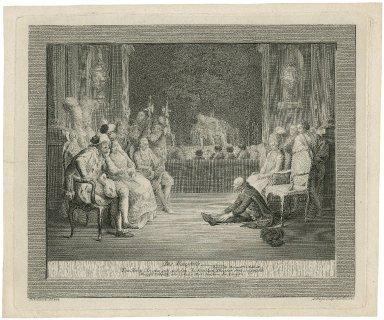 Die Mausfalle, Hamlet III. Aufzug 2ter Auftritt, von Herrn Brockmann auf dem Berlinschen Theater 1778 vorgestellt, Mamsell Döbbelin war Ophelia Herr Bruckner der Konig &c. [graphic] / D. Chodowiecki, del. ; D. Berger, sculps.