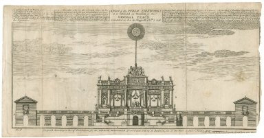 A view of the public fireworks to be exhibited on occasion of the general peace concluded at Aix La Chappelle, Octr. 7, 1748 [graphic].