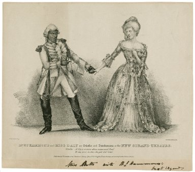 Mr. W.J. Hammond and Miss Daly as Othello and Desdemona at the New Strand Theatre ... [graphic] / J.W. Gear, del et lithog ; printed by C. Hallmandel.