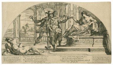 [Scene from Homer's The Odyssey, Circe, Odysseus and Hermes] [graphic] / Hannibal Carratius Bononiensis, pinxit, 1607 ; Nicolaus Mignard, delineauit Romae, e in aqua forti incidit Auenione, 1637.