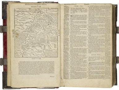 Bible. English. Geneva. The Bible and Holy Scriptures conteyned in the Olde and Newe Testament. Translated according to the Ebrue and Greke, and conferred vvith the best translations in diuers langages. With moste profitable annotations vpon all the hard places, and other things of great importance as may appeare in the epistle to the reader.