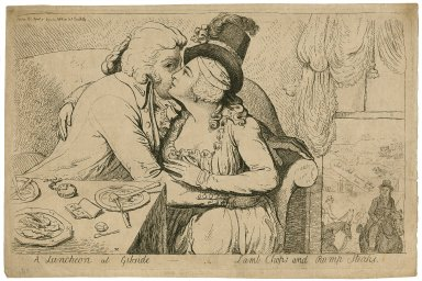A luncheon at Gibside ... lamb chops and rump steaks [a social caricature of John, 10th earl of Strathmore and Lady Tyrconnel] [graphic] / IC [artist].