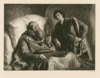 [King Henry IV, 2nd part, act IV, sc. v] [graphic] / Fr. Pecht, del. ; J. Bankel, sc.