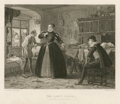 The lady's tailor (King Henry IV, second part) [act III, scene 2] [graphic] / H.S. Marks A.R.A. pinxt. ; C.W. Sharp, sculpt.