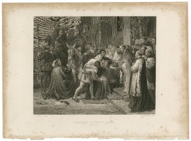 Wolsey at Leicester Abbey (Henry VIII) [act IV, scene 2] [graphic] / C.W. Cope, R.A. pinxt. ; W. Greatbach sculpt.