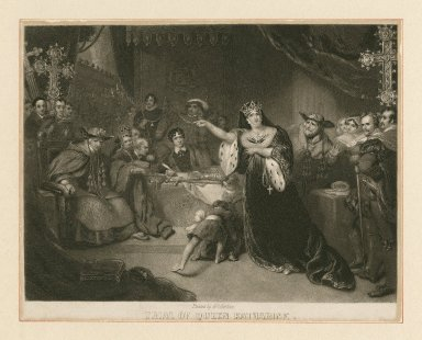 Trial of Queen Katharine [from Shakespeare's King Henry VIII, act II, scene 4] [graphic] / painted by G.H. Harlow ; engraved by John Sartain.
