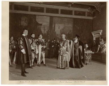 The merchant of Venice, A. Boucicault, M. Elliott, N.C. Goodwin, A. Irish, M. Arbuckle, V. Serrano [8 photographs of a production at the Knickerbocker Theatre, New York, in 1901] [graphic] / Byron.
