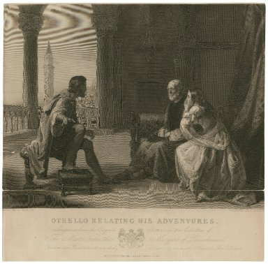 Othello relating his adventures [Othello, act I, sc. 3] [graphic] / [pai]nted by D. Cowper ; engraved by F. Finden.