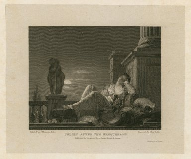 Juliet after the masquerade [character in Romeo and Juliet] [graphic] / painted by J. Thomson R.A. ; engraved by Chas. Rolls.