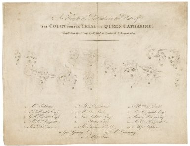 A key to the portraits in the plate of the Court for the trial of Queen Catharine [graphic] / [George Henry Harlow].