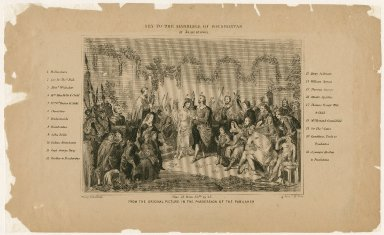 Key to the marriage of Pocahontas at Jamestown [showing Pocahontas' family, John Rolfe, and relatives and friends] [graphic] / Henry Brueckner ; John C. McRae.