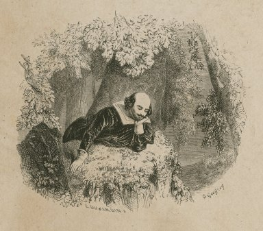 [Shakespeare resting on the grass] [graphic] / L. Dujardin, s. ; Geoffroy.
