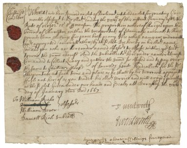 Order addressed to the assessors of the town of Thurlston in the wapentake of Staincross, West Riding, Yorkshire