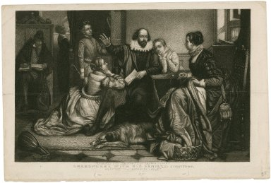 Shakespeare with his family, at Stratford, reciting the tragedy of Hamlet [graphic] / engraved for the Eclectic by Perine & Giles.