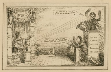 [Frontispiece to Shakespeare and Honest King George versus Parson Irving and the Puritans...by an Actor] [graphic] / Robt Cruikshank, fecit.