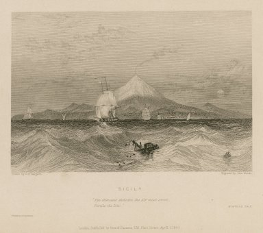 """Sicily, """"The climate's delicate, the air most sweet, fertile the isle,"""" Winter's tale. [graphic] / drawn by G.F. Sargent ; engraved by John Woods."""