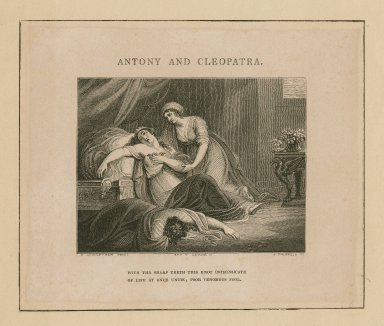 """Antony and Cleopatra: """"With thy sharp teeth this knot intrinsicate of life at once untie ..."""", act V, scene ii [graphic] / S. Woodforde pinxt. ; J. Thompson sc."""