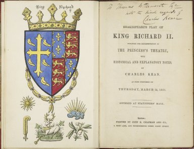 Shakespeare's play of King Richard II ... with historical and explanatory notes by Charles Kean.