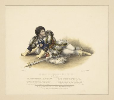 Mr. Kean as Richard the Third, act V, scene last ... the original sketch in the possession of Robt. Albion Cox Esqr. [graphic] / J.W. Gear fecit. ; printed by C. Hullmandel.