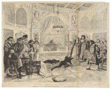 Hamlet a la Comédie-Française, le théatre (VIIe tableau) [act III, scene 2] [graphic] / S.G.A.P. sc. ; Adrien Marie.