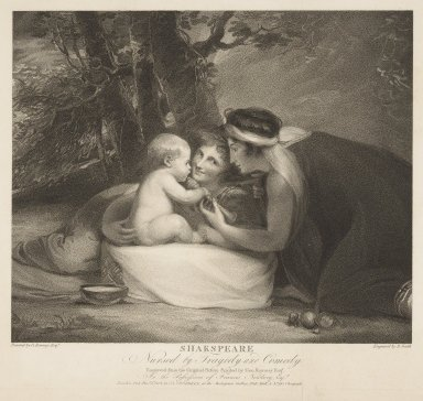 Shakespeare nursed by Tragedy and Comedy [graphic] / painted by G. Romney Esqr. ; engraved by B. Smith.