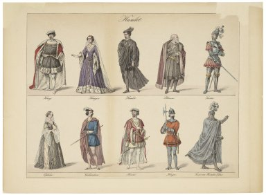 Hamlet [costumes for 10 of the characters] [graphic].