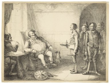 [Falstaff at Justice Shallow's mustering his recruits, King Henry IV, pt. 2, act III, sc. 2] [graphic] / J. Cawse.