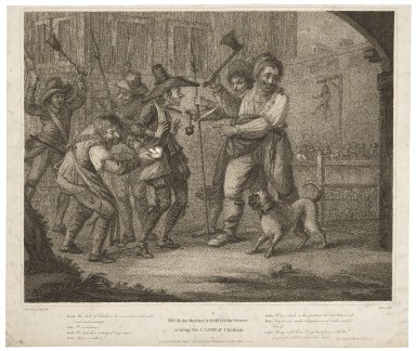 Dick the Butcher & Smith the Weaver seizing the Clerk of Chatham ... 2d. part of Henry 6th, act 4, sc. 2 [graphic] / H. Bunbury esqr., delt. ; Coles, sculpt.
