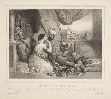 Othello et Desdemona, Othello, par ses simples et nobles récits ... [graphic] / lith. de Lemercier, Bernard et Cie.
