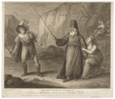 Prospero disarming Ferdinand [Tempest] act I, sc. 2 [graphic] / from an original drawing in the collection of her royal highness the Dutchess of York ; Henry Bunbury, esq. del. ; F. Bartolozzi, esqr. sculpt.