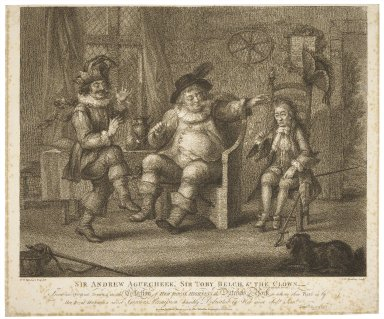 Sir Andrew Aguecheek, Sir Toby Belch, & the clown ... Twelfth night act 2, sc. 3 [graphic] / from an original drawing in the collection of ... the Dutchess of York ; W.H. Bunbury esq. delt. ; P.W. Tomkins sculpt.