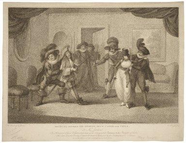 The duel between Sir Andrew Ague Cheek and Viola ... Twelfth night [act III, sc. 4] [graphic] / H. Bunbury delint. ; C. Knight fecit.