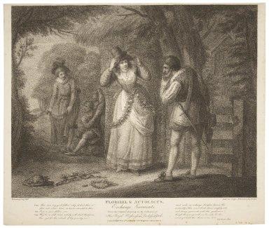 Florizel & Autolicus, exchange garments, Winter's tale, [act IV, scene IV] [graphic] / H. Bunbury, esqr. delt. ; Duterrow, sculpt. ; F. Bartolozzi, R.A. directed.