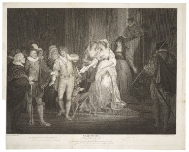 All's well that ends well, act V, scene III, King, Countess, Lafeu ... Bertram guarded, Diana & a widow [graphic] / painted by F. Wheatley ; engrav'd by G.S. & J.G. Facius.