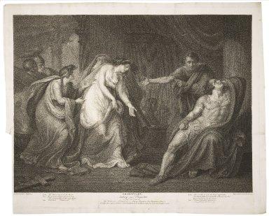 Antony and Cleopatra, act III, scene IX [i.e. XI], the palace in Alexandria, Antony, Cleopatra, Eros, Charmian, Iras, &c. [graphic] / painted by Henry Tresham ; engraved by G.S. & I.G. Facius.