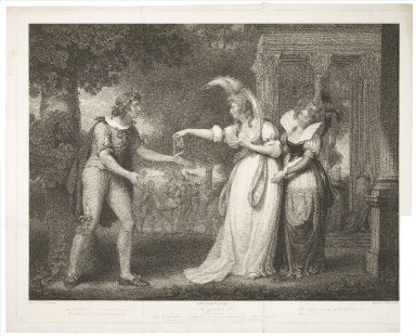 As you like it, act I, scene 2, Before the duke's palace: Rosalind, Celia, Orlando, Duke ... Charles carried off [graphic] / painted by Iohn Downman ; engraved by William Leney.