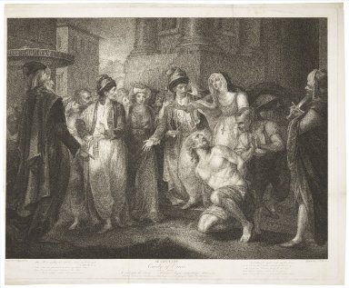 Comedy of errors, act V, scene I, a street before the priory [graphic] : Merchant, Angelo, Lady Abbess, Adriana, &c. / painted by I. F. Rigaud ; engraved by C.G. Playter.
