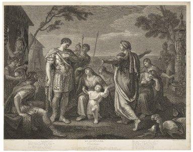 Coriolanus, act V, scene III: Coriolanus, Aufidius, Vergilia, Volumnia, young Marcius, Valeria, and attendants ... [graphic] / painted by G. Hamilton ; engraved by J. Caldwell [i.e. Caldwall].