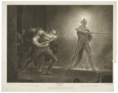 ... Hamlet ... act I, scene IV, the platform before the palace of Elsineur -- Hamlet, Horatio, Marcellus and the ghost ... [graphic] / painted by H. Fuseli ; engraved by R. Thew.