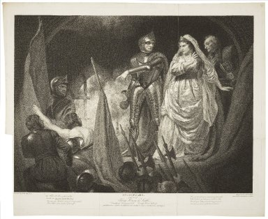 First part of King Henry the Sixth, Countess of Auvergne's castle [act II, scene 3] [graphic] / painted by John Opie ; engraved by Robt. Thew.