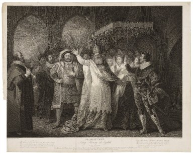 King Henry the eighth, act V, scene IV, The palace ... [graphic] / painted by the Revd. W. Peters ; engraved by J. Collyer.