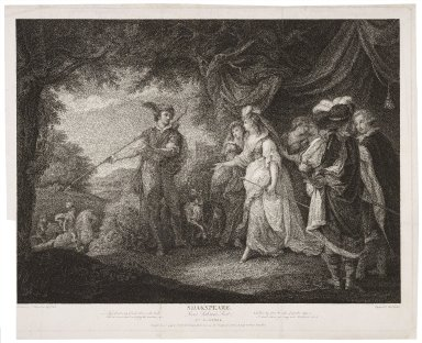 ...Love's labour's lost, act IV, scene 1; -Then, forester, my friend, where is the bush... [graphic] / painted by Wm. Hamilton ; engraved by Thos. Ryder.
