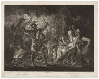 Macbeth, act IV, scene 1, a dark cave ... [graphic] / [Joshua Reynolds] ; engraved by Robt. Thew.